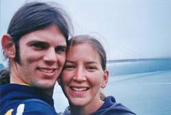 Jason & Lindsay in front of the Golden Gate bridge.
